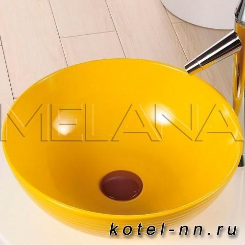 Фигурный умывальник Melana T4004-B6 желтый
