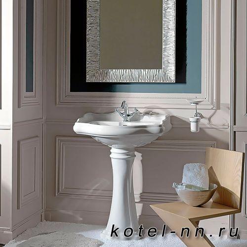 Раковина Kerasan Retro 73, 73*54см с 1 отв. под смеситель с крепежом, цвет: белый
