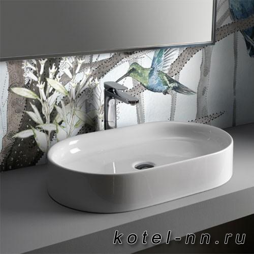 Умывальник накладной Kerasan Ciotola , без отверстия под смеситель 65х40 , цвет белый