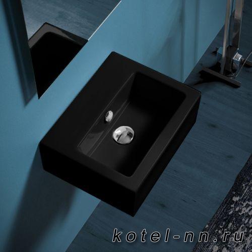 Раковина Simas Frozen 43х33,5см, с 1 отв. выбитым вручную, цвет черный