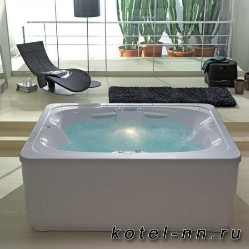 Собранная ванна акриловая прямоугольная на каркасе со сливом переливом Kolpa-San Manon 210x165x60 ( 84)