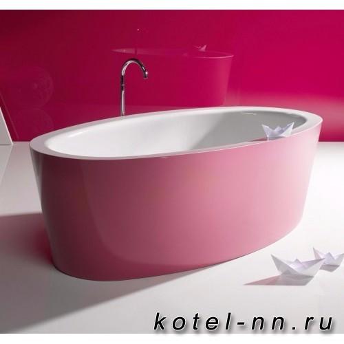 Ванна отдельностоящая стальная овальная Bette Home oval silhouette 180х100 см, с покрытием Glaze Plus, внутри белый-снаружи лиловый