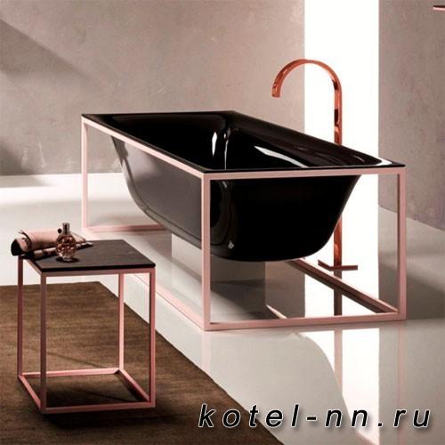 Ванна стальная прямоугольная Bette Lux SHAPE 180х80х45см на каркасе, покрыта эмалью снаружи и изнутри, Glaze Plus, цвет черный/матовый розовый