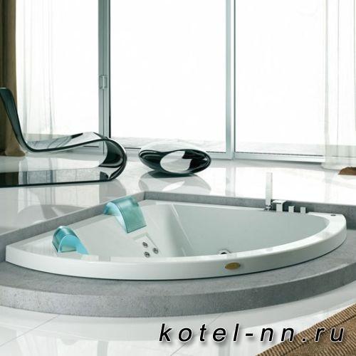 Ванна акриловая угловая Jacuzzi Aquasoul Extra AQU 190x150x60см, гидромассажная, смеситель, с панелями, цвет: белый/хром