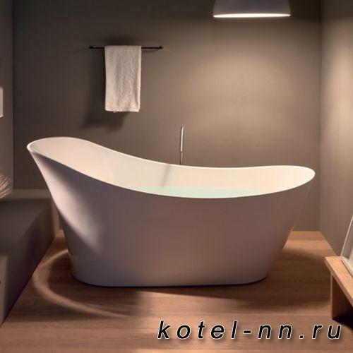 Ванна свободностоящая акриловая овальная Kerasan Waldorf 167х82х65см в комплекте со сливом Clic-clac, цвет белый