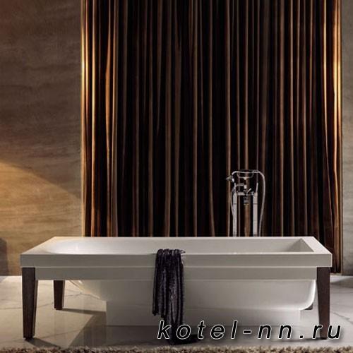 Ванна акриловая прямоугольная Kerasan Bentley 180х80см, crystal-tech, цвет белый с ножками из дерева цвет темный ясень