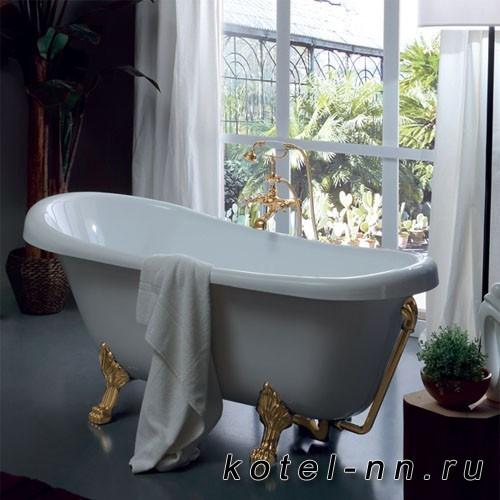 Ванна акриловая прямоугольная Kerasan Retro new 170х77/66см, глубина ванны 44,5см, цвет белый, ножки золото