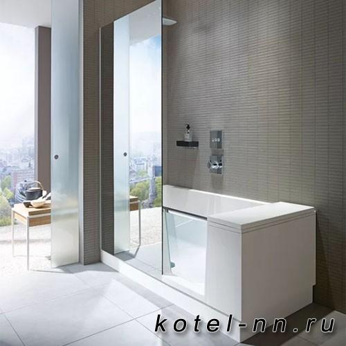 Ванна акриловая прямоугольная Duravit Shower + Bath Bathtub 1700х750хh2105 мм, с входной дверью и душевой шторкой ЗЕРКАЛЬНОЙ, DX - правосторонняя, цвет: белый
