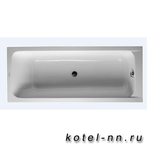 Ванна акриловая прямоугольная Duravit D-Code 1700х700 мм см, встраиваемая, с 1 наклоном для спины, выпуск центральный, цвет белый