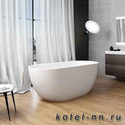 Каменная ванна овальная Balteco Xonyx Halo белая изнутри и снаружи