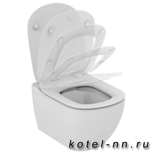 """Сидение и крышка для унитаза Ideal Standard """"Tesi"""" ультра-тонкое с микролифтом"""