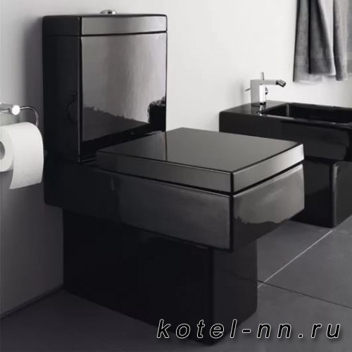 Унитаз Duravit Vero моноблок, 370x630мм, подключения бачка справа или слева, Цвет: черный