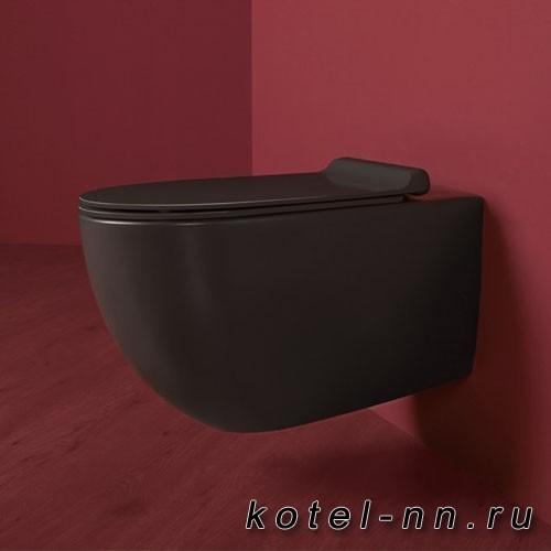 Унитаз Simas Vignoni подвесной безободковый 56*36,5см, с черным сиденьем микролифт, фурнитура хром