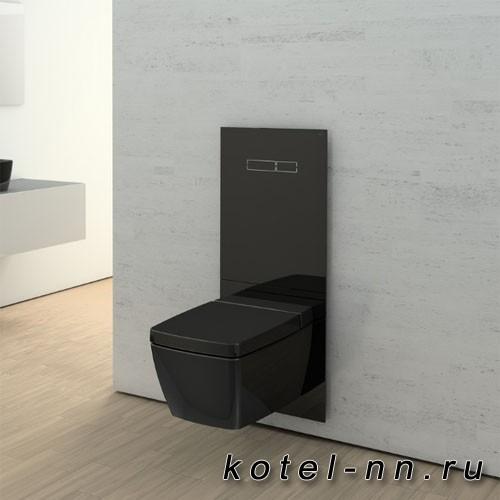Комплект TECELux для установки унитаза-биде TOTO, Geberit, с верхней панелью из черного стекла с механическим блоком управления, стекло черное, клавиши хром