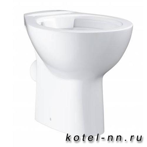 Унитаз напольный безободковый Grohe Bau Ceramic, горизонтальный выпуск (без сиденья), альпин-белый