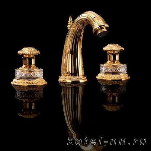Смеситель для раковины Devon&Devon Excelsior Swan на 3 отверстия, цвет: золото 24к