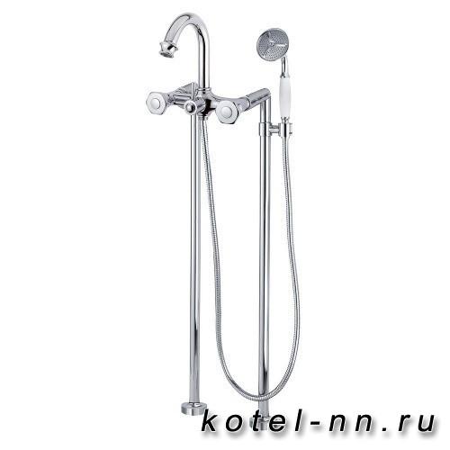 Смеситель для ванны Cezares напольный с ручным душем, цвет хром, ручки металл