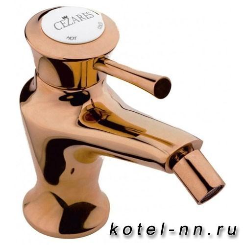 Смеситель для биде Cezares с донным клапаном, цвет бронза, ручки металл