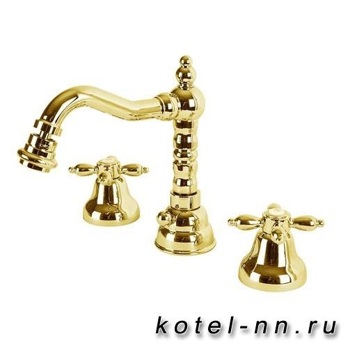 Смеситель для биде Cezares на три отверстия с донным клапаном, цвет золото, ручки золото