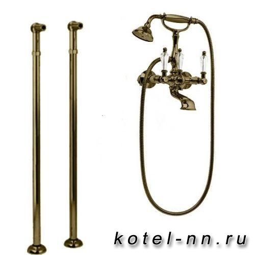 Смеситель для ванны Cezares напольный, с ручным душем, цвет бронза, ручки Swarovski