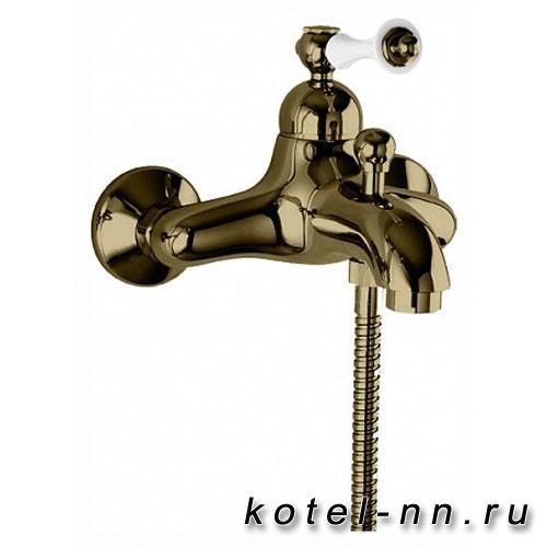 Смеситель для ванны и душа Cezares однорычажный, цвет бронза, ручки белые