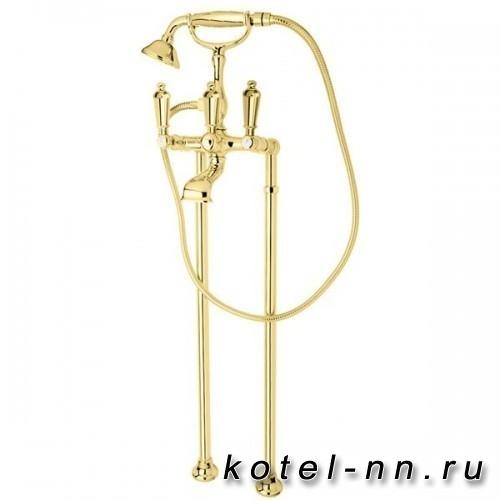 Смеситель для ванны Cezares напольный, с поворотным изливом и ручным душем, цвет золото, ручки металл