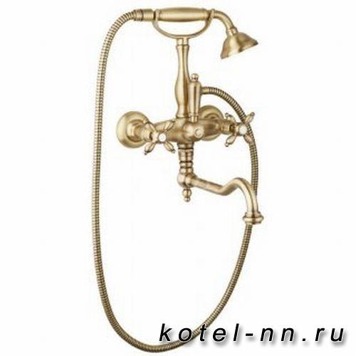 Смеситель для ванны Cezares с ручным душем, с поворотным изливом, цвет золото
