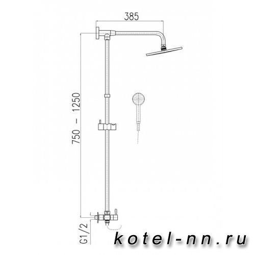 Душевая штанга Ravslezak с регулируемой высотой и керамическим переключателем для смесителей скрытого монтажа