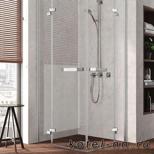 Душевой угол Kermi Tusca EPL+EPR 900x900хH2000, серебро, прозрачное стекло с Kermiclean