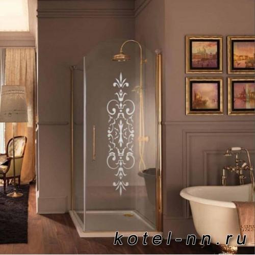 Душевой угол Samo ETERNA, двери распашные 100x100хh190, профиль золото, стекло прозрачное. дверь c мат. декором N6