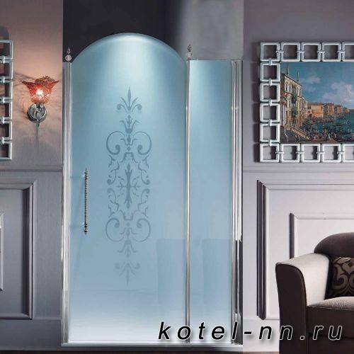 Дверь-арка в нишу Samo ETE распашная с неп. сегм.118-122хh203, правая, проф хром, ст. матовое.дек.R6 +St/Cl, ручка верт KDM03CROхром,3 дек/эл-т KDT03CRO