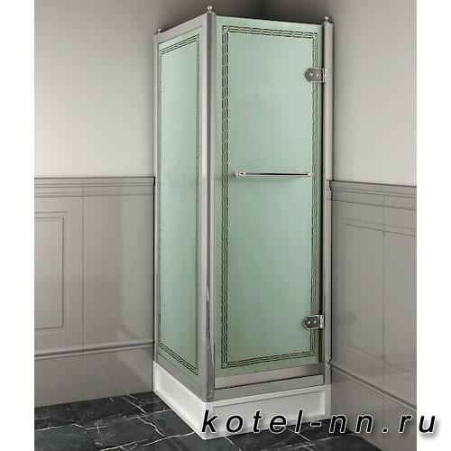 Душевое ограждение прямоугольное Devon&Devon Savoy X70 69*109 см, с декоративными элементами,стекло с декором 2S, цвет: хром