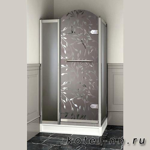 Душевое ограждение прямоугольное Devon&Devon Savoy Y70 69*109 см, с декоративными элементами, стекло с декором 4T, цвет: хром