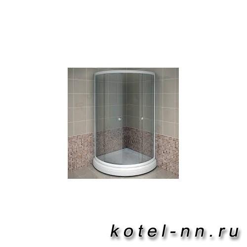 Душевой угол Radomir 100 (радиальный), стеклянные шторки (матовые), поддон на раме-подставке с устройством слива, профиль белый