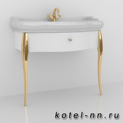 Тумба с раковиной Kerasan Retro 100см, Цвет: bianco/oro