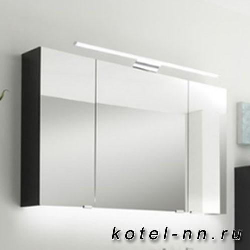 Зеркальный шкаф Pelipal вкл. верхний св-к 900мм, 12 В. LED, LM LED, 10 Вт. 3 дверцы, с двух сторон зеркальные, 6 стекл. полок, выкл/роз антрацид 70