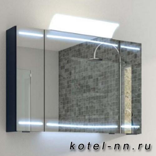 Зеркальный шкаф Pelipal Cassca 1000*700*170 ComfortN, включ. подсвет,3 зерк.дверцы, 6 стекл.полок, розетка и выключатель, цвет стальной серый 88