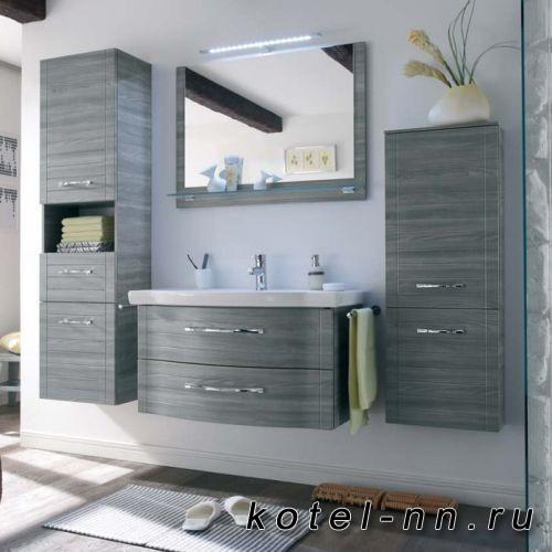 Комплект мебели Pelipal Solitaire 6020 с зеркалом на основе и светильником, 90см, Цвет: сангалло серый
