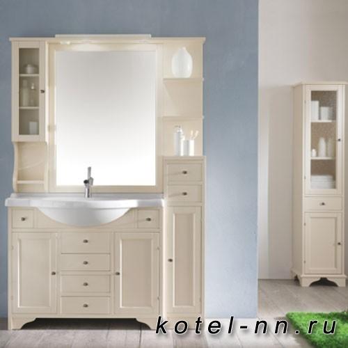 Комплект мебели Eban Eleonora Modular, с зеркалом со шкафчиком слева и светильником, полки справа, колонна правая, ручки хром, 130см, Цвет: Bianco Decape