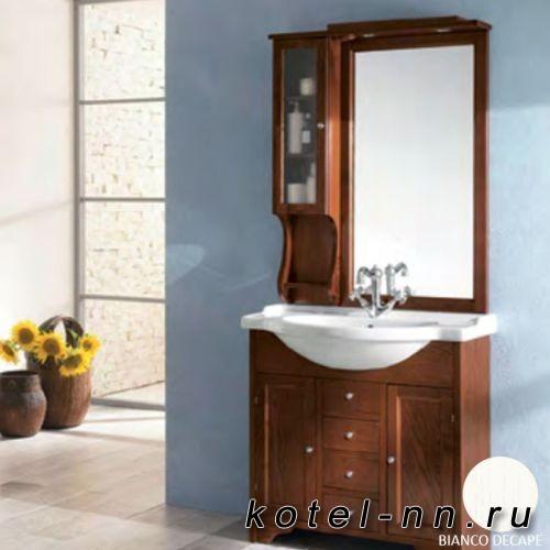 Комплект мебели Eban Eleonora, с зеркалом-шкафчиком Singolo, 86см, цвет bianco decape