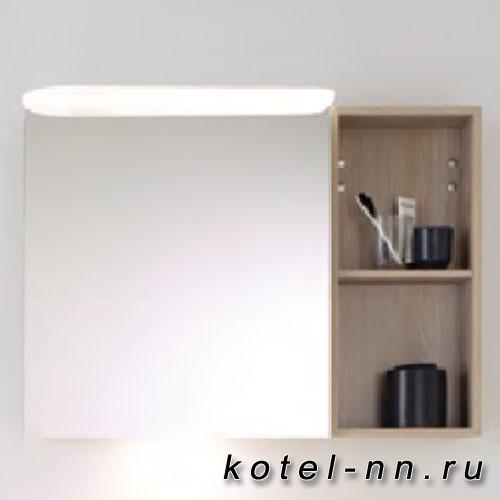 Зеркальный шкаф BurgBad Badu 900х310х665 мм, 1 зерк дверь,1 стойка с 1 полкой,светод осве-е сверху,выкл/розетка, стекл полки, цвет K0463 дуб фланелевый, версия левая L