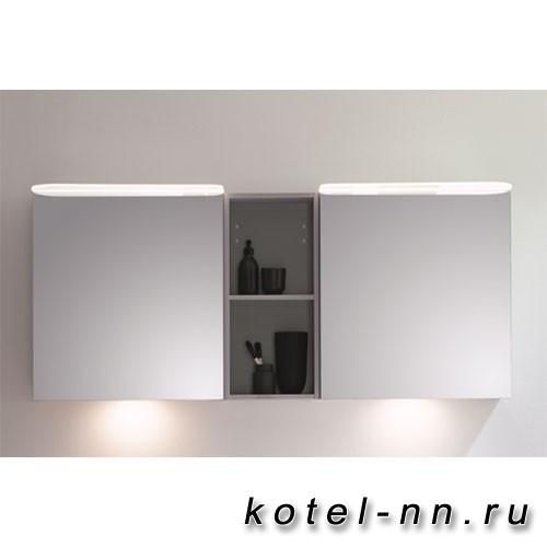 Зеркальный шкаф BurgBad Badu 1500х310х665 мм, 2 светильника,2 выкл, 2 зерк двери, стойка с 1 полкой, стекл полки, цвет корпуса K0521 лен серый, подсветка мойки