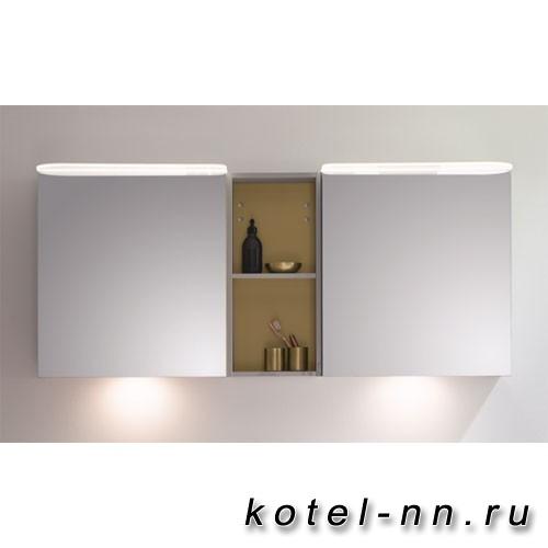 Зеркальный шкаф BurgBad Badu 1500х310х665 мм, 2 светильника,2 выкл, 2 зерк двери, стойка с 1 полкой, стекл полки, цвет корпуса K0521 лен серый. стойка T0015 Gold, освещение мойки
