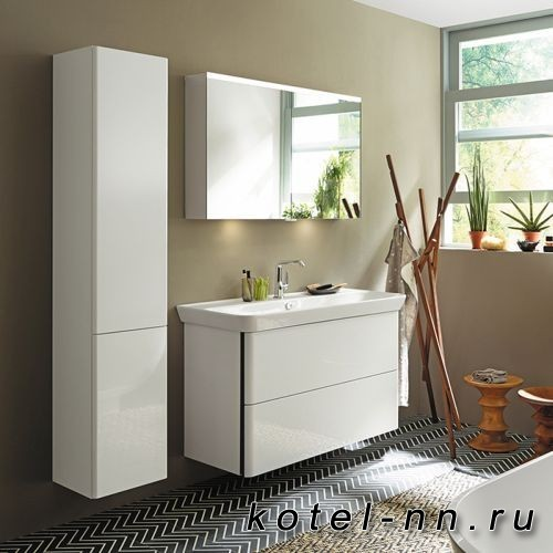 Комплект мебели Burgbad Iveo с раковиной 1200 мм, цвет белый глянец