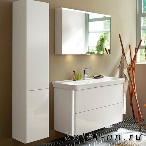 Комплект мебели Burgbad Iveo с раковиной 1000 мм c LED подсветкой тумбы 11Вт без вкл/выкл, цвет белый глянец
