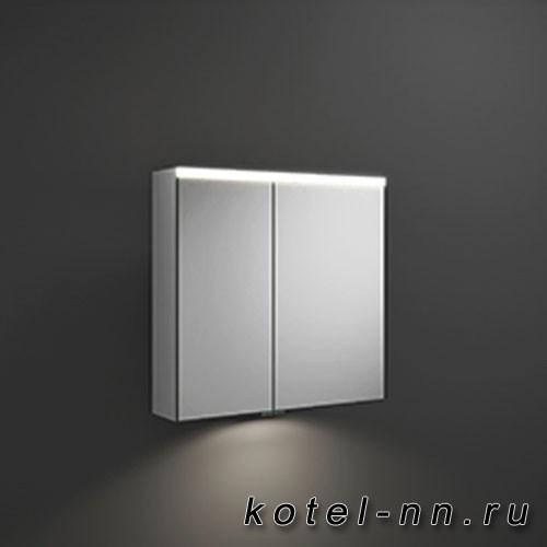 Зеркальный шкаф Burgbad Iveo с подсветкой , 708х680х160 мм,свет. 1 выкл. стекл полки, 2 зеркальн двери с обеих сторон, зеркальная поверхность