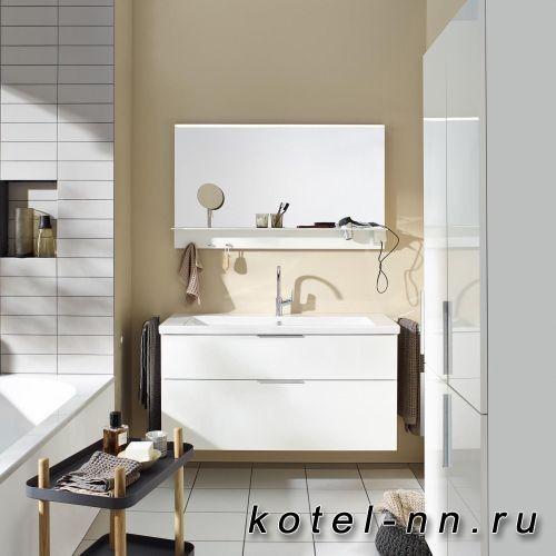 Комплект мебели Burgbad Eqio с раковиной 1230 мм, цвет белый глянец