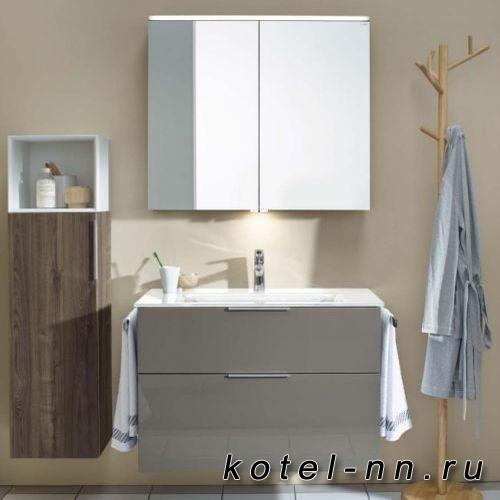Комплект мебели Burgbad Eqio с раковиной 1230 мм, цвет серый глянец