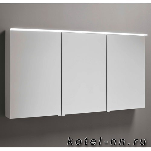 Зеркальный шкаф Burgbad Eqio с LED подсветкой 5Вт IP24, 1200х800х170 мм, 3 зерк. двери с обоих сторон, версия левая L, цвет белый F2009