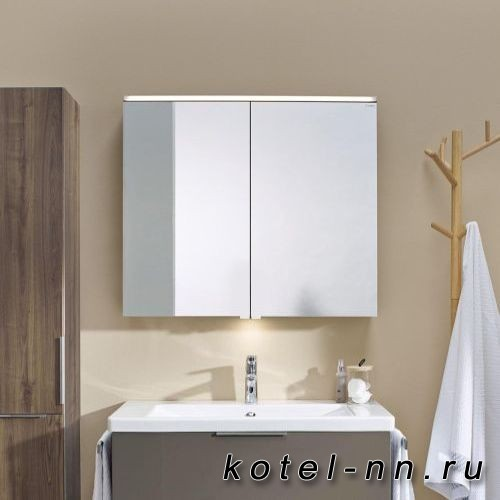Зеркальный шкаф Burgbad Eqio с LED подсветкой 5Вт IP24, 900х800х170 мм,2 зерк двери с обоих сторон, стекл полки, вкл/выкл, цвет белыйF2009